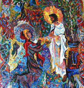 mosaïque du Christ le jardinier qui se trouve dans la chapelle de la Ressurection de la Cathédrale Nationale à Washington DCapparît à Marie de Magdala